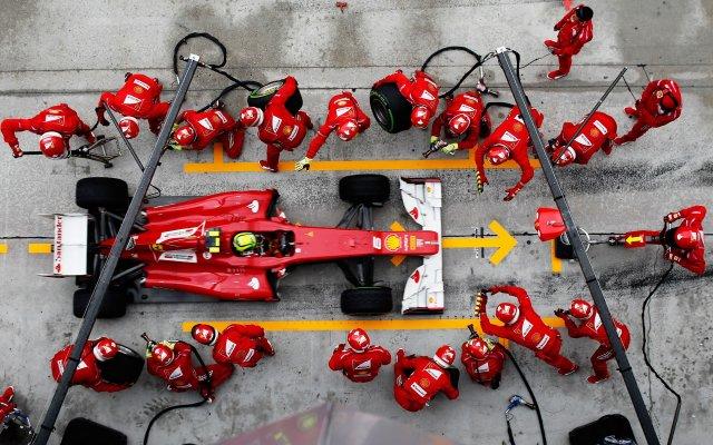 F1 car in pits